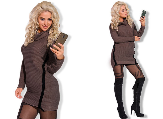 Cappuccino Long Jumper Tunic Dress - One size