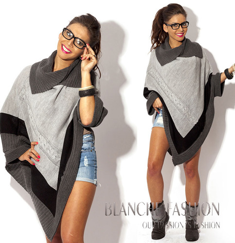 Grey Asymmetrical Knitted Poncho - One size