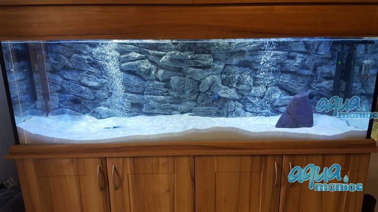 3D Grey Rock Background 209x56cm in 4 section to fit 7 foot by 2 foot tanks