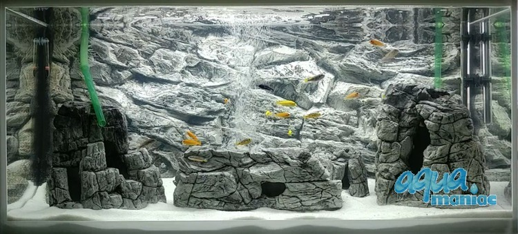 3D Grey Rock Background 178x58cm in 3 section to fit 6 foot by 2 foot tanks