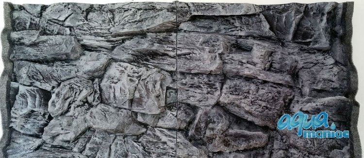 3D grey rock background 113x54cm to fit Aqua One 230 fish tank