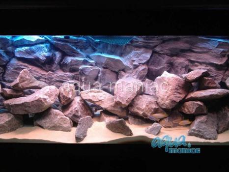 3D grey rock background 196x54cm