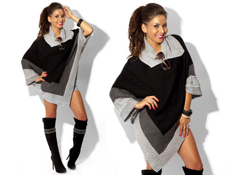 Black Asymmetrical Knitted Poncho - One size