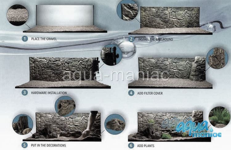 JUWEL Vision 400 3D thin grey rock background 147x53cm in 3 sections