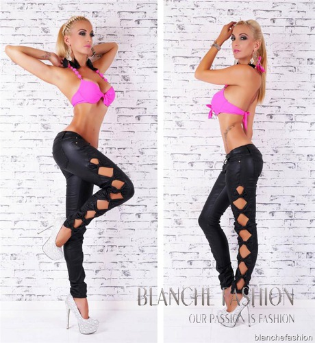 Ladies Sexy Leather Pants with open sides and bows